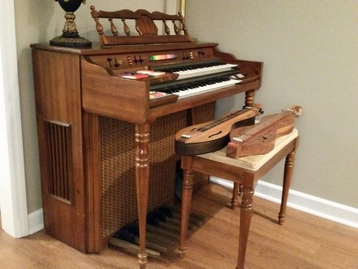Two dulcimers and a Kimball electric organ.