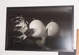 LARGE HAROLD EDGERTON BULLET PASSING THROUGH THREE BALLOONS PRINTED ON ALUMINUM MUESUM QUALITY FRAMMING