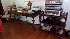 long  Sofa Table, Lamps, 3 shelf Stand,  Electronics, Books, misc.