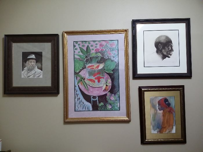 """The art on the left is by Richard Jarrell, the print in the center is titled """"Goldfish"""" by Henri Matisse, the engraving at the top is by Harry McCormick, & the bottom right corner is by Victoria artist Mary Louise Green,"""