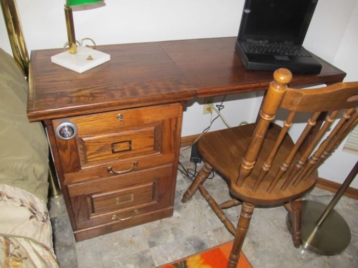 drop-leaf; two file drawers