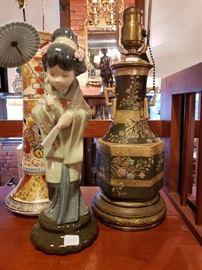 Llardro figur and Japanese lamp