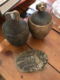 Egyptian Jars and Scarab Ink Blotter