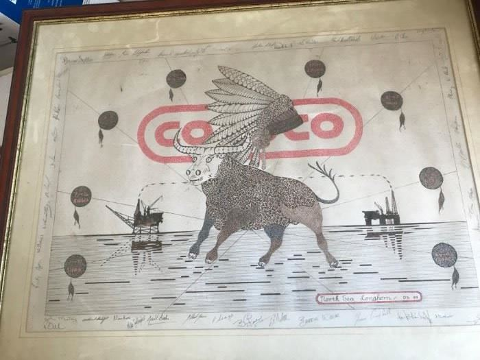 Rare Conoco Oil Print Signed by Many People