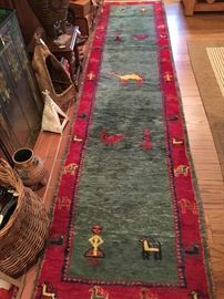 Long wool runner with animal patterns