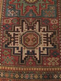 Colorful hand woven rug circa 1920's or 1930's