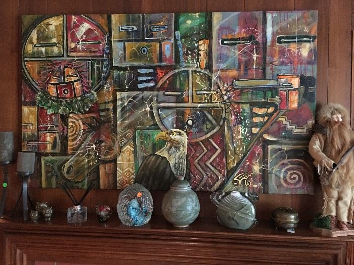 Large  signed Navajo oil painting