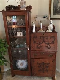 Nice antique secretary with Lladro and crystal