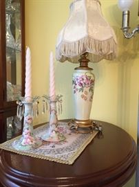 Limoges  Porcelain Lamp & Candlesticks
