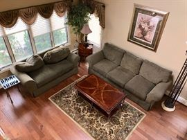 Pair sofas, coffee & end tables & area rug