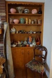 pottery, planters 1960's tea pots, Mahogany carved chair, rug