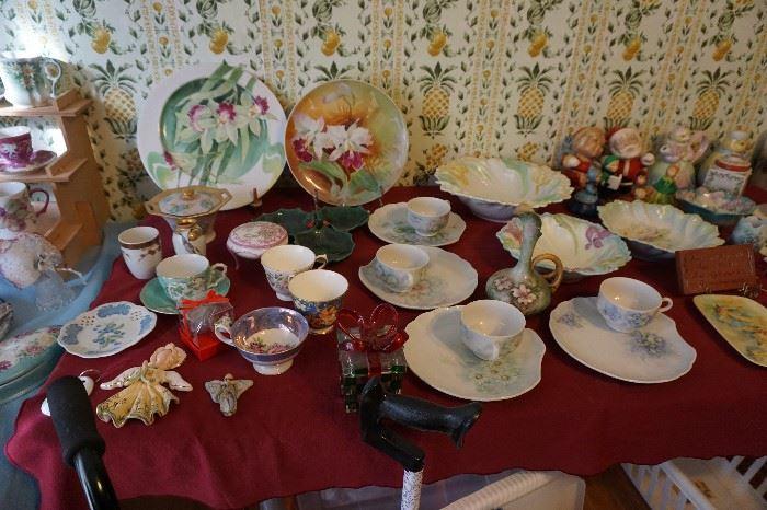 hand painted china sets, bowls, plates, etc.