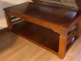 Lift top coffee table, matching set of end tables, and one sofa table in fantastic condition