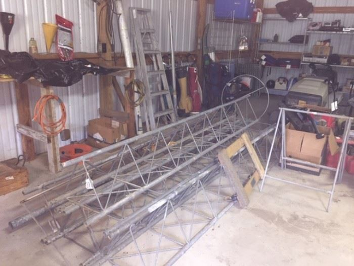 Ham radio tower, ladders and hand tools.  Lots of commercial dishware from Dallas Safari Club just a $1.00 each.