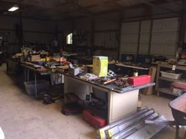 Hand tools, power tools, shop lights still in boxes