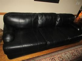 HENREDON, black leather-mint condition