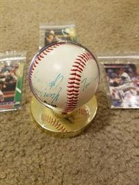 Braves autographed ball, Tom Glavine, John Smoltz & Kent Mercker