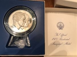 The Franklin Mint .999 Fine Silver 1975 Official Presidential Inaugural Medal of Richard Nixon and Agnew
