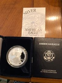 American Eagle one dollar piece in mint condition One ounce proof silver bullion coin