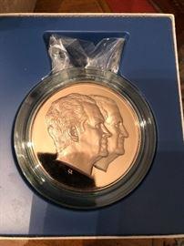 Bronze Presentation piece of Richard Nixon and Agnew Inauguration