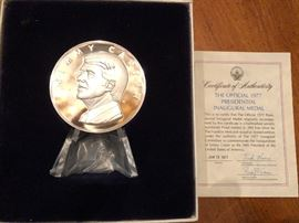 Jimmy Carter Inauguation medal one is in Sterling one is in bronze