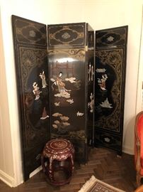 Japanese 4 fold floor screen black lacquered with hard stone, mother of pearl, bone, figural and village decor 72H x 72W
