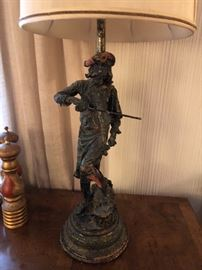 Figural composition table lamp depicting a figure playing the violin