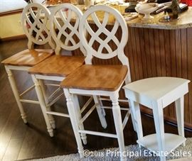 Antiqued white modern Farmhouse chic barstools