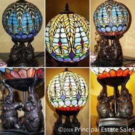 Tiffany style globe lamp with elephant base