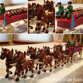Cast iron Budweiser Clydesdales - 2 men with a dog!  Complete set!