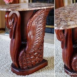 Granite / marble top swan table