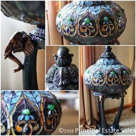 Tiffany style floor lamp with elephant motif