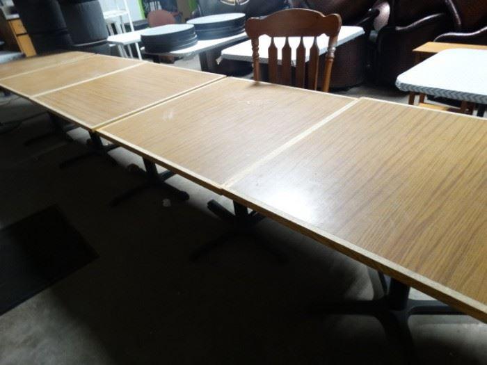 5 pedestal baised tables.