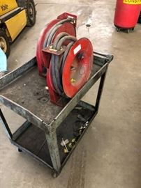 2 qty Air hose reels and Rolling tool cart