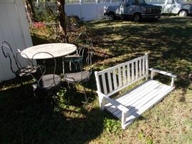 ice cream table and chairs, one of 2 porch swings