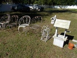 wrought iron chairs and misc.