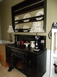 sideboard, lamps, china, wall rack