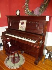 Beautiful Antique piano and stools,