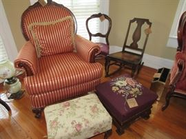 2 red/gold chiars, needlepoint footstools, side chairs, GWTW lamp, rocker