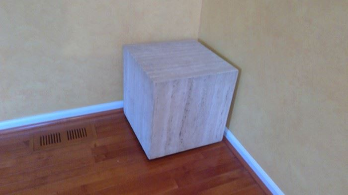 18 x 18 x 18 cube.  Makes a great side table.