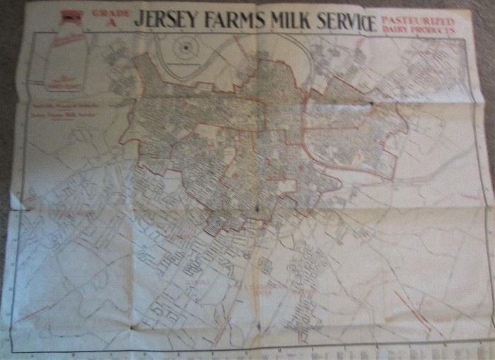 Jersey Farm Milk Route Map of Nashville
