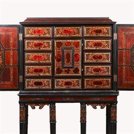 Lot 5243935: Dutch Baroque Inlaid Ebony Cabinet on Stand, 17th Century