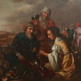Lot 5243907: Dutch School, 'Joseph's Family's Departure from Egypt,' Oil on Canvas on Board, 17th Century