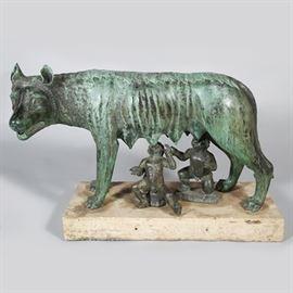 "Lot 5246637: Italian Bronze Sculpture, ""The Capitoline Wolf"", Romulus and Remus"