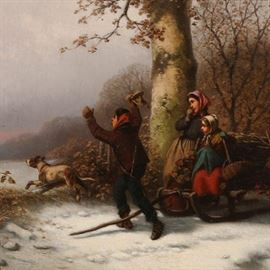 """Lot 5244655: William T. Ranney (American 1813-1857), """"The Chase is On!"""", Oil on Canvas"""