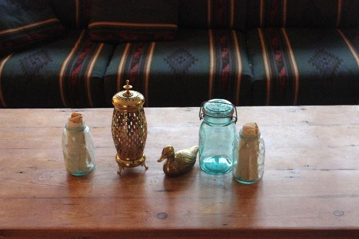 Antique Mason Jars, Brass figurines