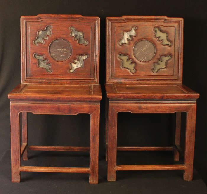 Chinese Elmwood chairs with marble