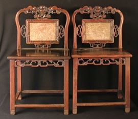 Chinese carved side chairs with marble