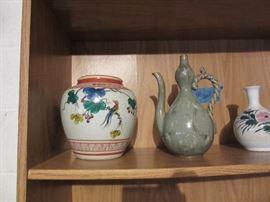 Korean celadon ewer,  ceramic jar and vase