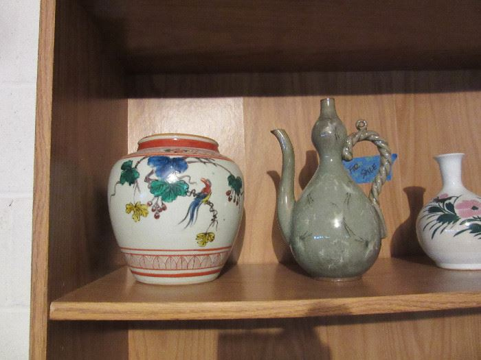 Korean celadon ewer,  ceramic jar and vase